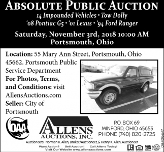 Absolute Public Auction, Vehicles