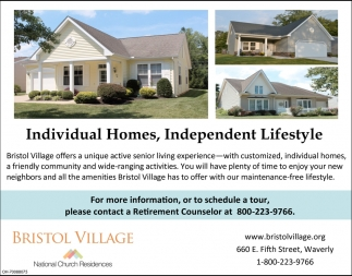 Individual Homes, Independent Lifestyle