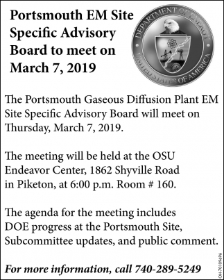 Portsmouth EM Site Specific Advisory Board to meet on March 7, 2019