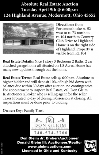 Absolute Real Estate Auction - 124 Highland Avenue, Mcdermott