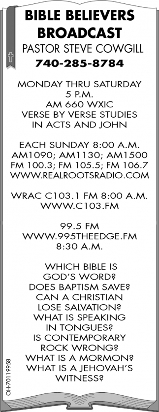 Pastor Steve Cowgill, Bible Believers Broadcast