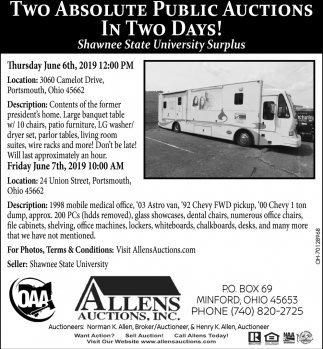Two Absolute Public Auctions, Allens Auctions, Inc, Minford, OH