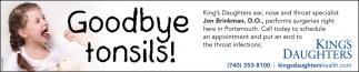 Goodbye tonsils!