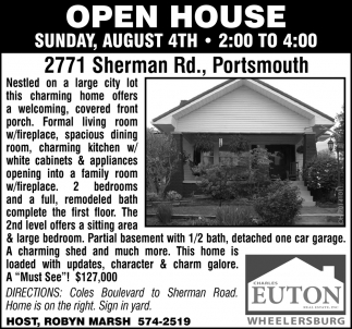 Open House - 2271 Sherman Rd., Portsmouth