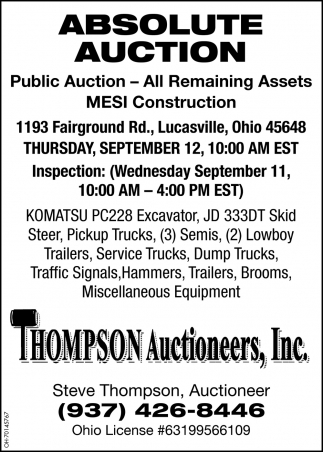 Absolute Auction  - September 12