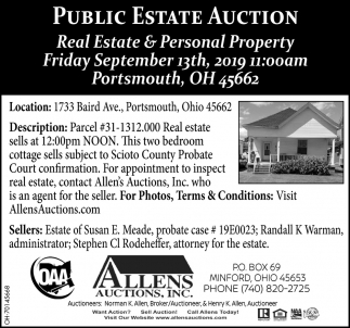 Public Estate Auction - September 13th