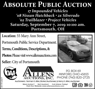 Absolute Public Auction - September 7