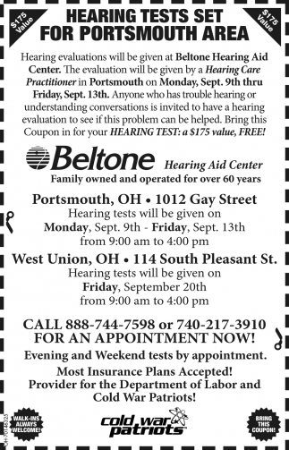 Hearing Tests Set for Portsmouth Area, Beltone Hearing Aid