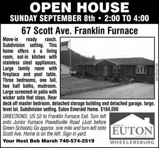 Open House - 67 Scott Ave., Franklin Furnace