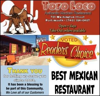 voted Reader's Choice - Best Mexican Restaurant