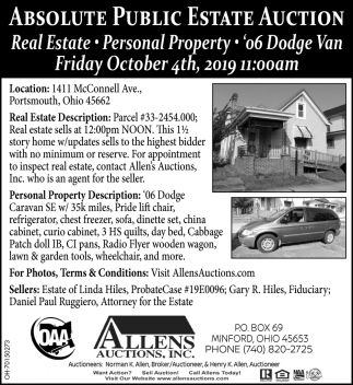 Absolute Public Estate Auction - October 4th