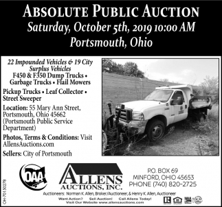 Absolute Public Auction - October 5th
