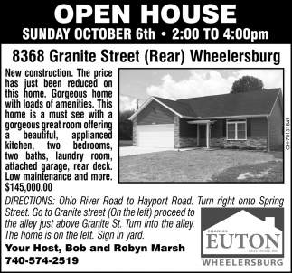 Open House - 8368 Granite Street, Wheelersburg