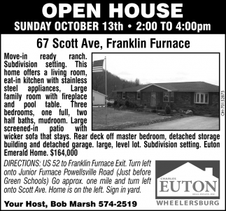 Open House - 67 Scott Ave, Franklin Furnace