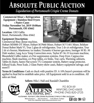 Absolute Public Auction - November 1st