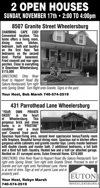 Open Houses - 8507 Granite Street, Wheelersburg |431 Parrothead Lane, Wheelersburg
