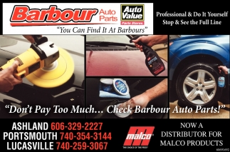 Don't Pay Too much... Check Barbour Auto Parts