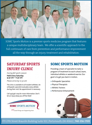 Saturday Sports Injury Clinic