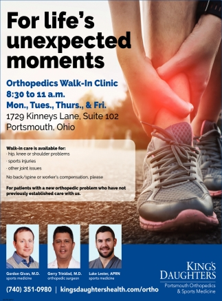 For life's unexpected moments - Orthopedics Walk-In Clinic