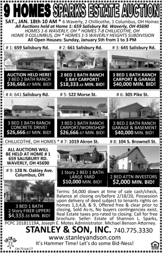 9 Homes Sparks Estate Auction - Jan 18th