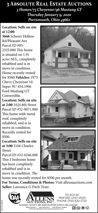 3 Absolute Real Estate Auctions