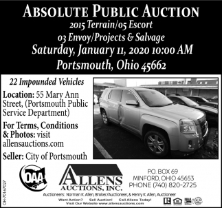Absolute Public Auction - January 11