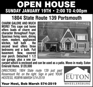 Open House - 1804 State Route 139, Portsmouth