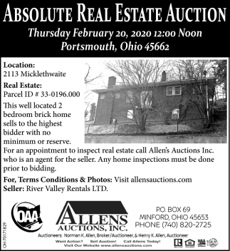 Absolute Real Estate Auction - February 20