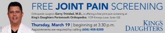 Free Joint Pain Screening