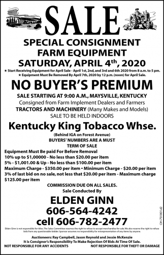 Special Consignment Farm Equipment - March 7th