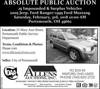 Absolute Public Auction, Allens Auctions, Inc, Minford, OH