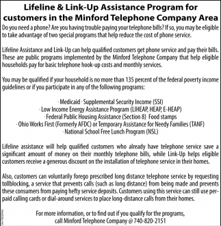 Lifeline & Link-Up Assistance Program for customers