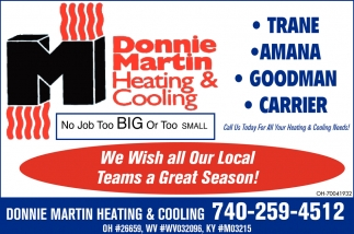 Call us today for all your heating & cooling needs!