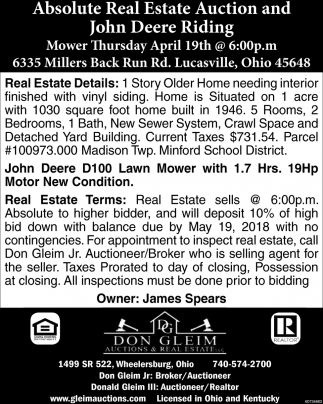 Absolute Real Estate Auction and John Deere Riding
