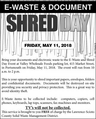 E-Waste & Document Shred Day, Lawrence-Scioto County Solid Waste