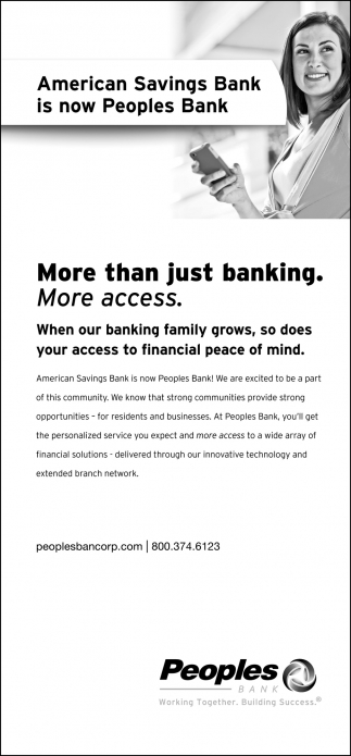 American Savings Bank is now Peoples Bank