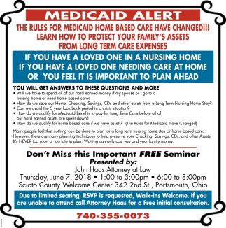 Medicaid Alert, Free Seminar