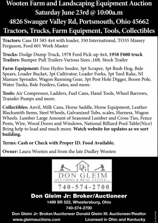 Wooten Farm and Landscaping Equipment Auction