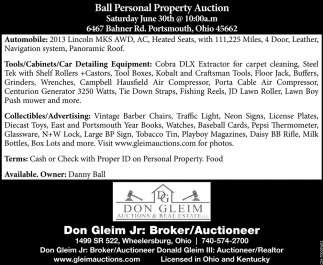 Ball Personal Property Auction