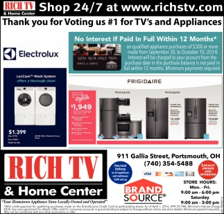 Thank you for voting us 1 for TV's and Appliances